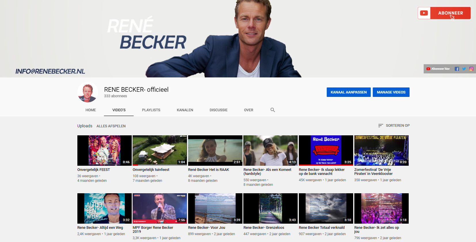 YouTube kanaal Rene Becker